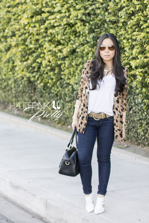An Dyer wearing Vaunt Eyewear Leopard Etched Aviator Sunglasses, Leopard Mesh Blazer, Michael Stars Tee, THEIT Studded Bossi, ShoeMint Garbo