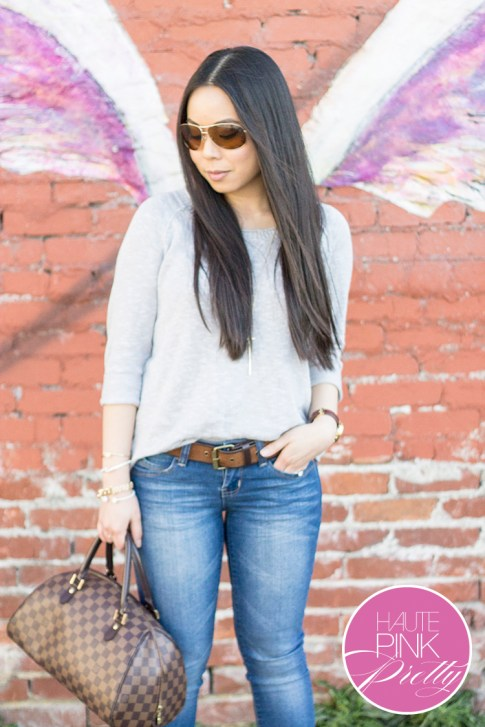 An Dyer wearing  YMI Want a Better Booty Boot Cut Jeans, Michael Stars Soy Cotton 3 4 Slv Wide Neck Pullover in Abalone,Glint & Gleam Bracelets & Necklace ShopLately, Vaunt eyewear, Louis Vuitton Ribera