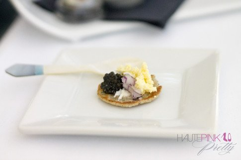 HautePinkPretty Brunch at Petrossian Paris WeHo West Hollywood Belini with White Sturgeon Caviar, Creme Fresh, Onions and Eggs