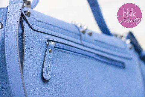 Melie Bianco Villette Blue F3190 Vegan Leather Handbag Back Zipper Pocket Detail on HautePinkPretty