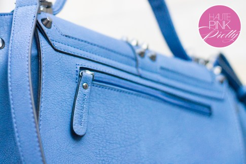Melie Bianco Villette Blue F3190 Vegan Leather Handbag Back Zipper Pocket Detail on HautePinkPretty