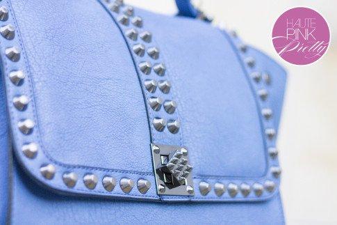 Melie Bianco Villette Blue F3190 Vegan Leather Handbag Closure Lock Detail on HautePinkPretty