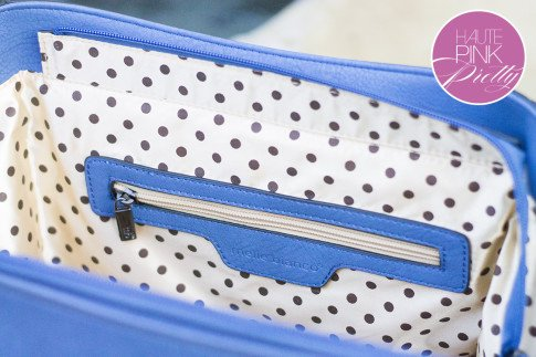 Melie Bianco Villette Blue F3190 Vegan Leather Handbag Polka Dot Interior Lining Detail on HautePinkPretty