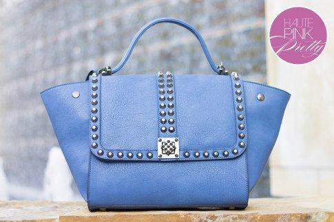 Melie Bianco Villette Blue F3190 Vegan Leather Handbag on HautePinkPretty