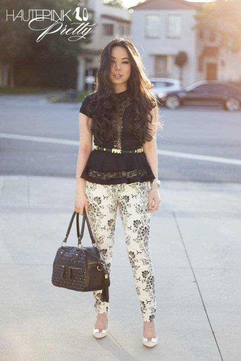 An Dyer wearing Fidelity Denim Batista Black White Floral Pint Skinny Jeans, Sole Society Rory, BCBGeneration DIY Affirmation Bracelets as Belt, TopShop Crochet Peplum top, THEIT Studded Bossi