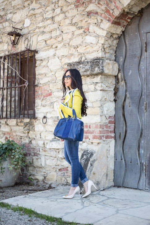An Dyer wearing Lucy Paris Denim Fringe Chartreuse Jacket, Sole Society Kaylin Navy Bag & Rori Pumps, Fendi Classico Sunglasses, Levi's Skinny Jeans