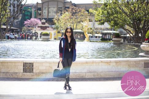 An Dyer wearing vintage Christian Dior Track Jacket, Glint & Gleam Necklace, Elizabeth & James Lafayette Sunglasses, ShoeMint Garbo Black, THEIT Studded Bossi