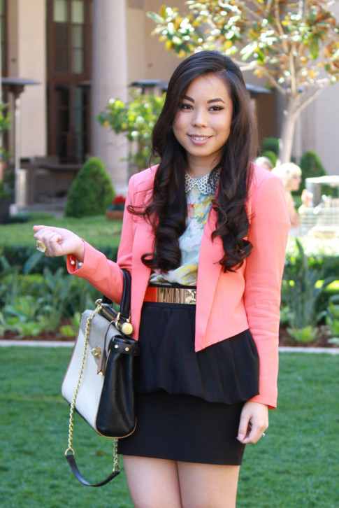 Bebe Girls Who Lunch - An Dyer wearing Bebe Debbie Crepe Crop Blazer, Ainsley Galloping Horse Blouse, BCBG Maxazria Andrea Satchel, Pear Collar Necklace, ASOS Spike & Plate Belt, Zara Peplum Skirt