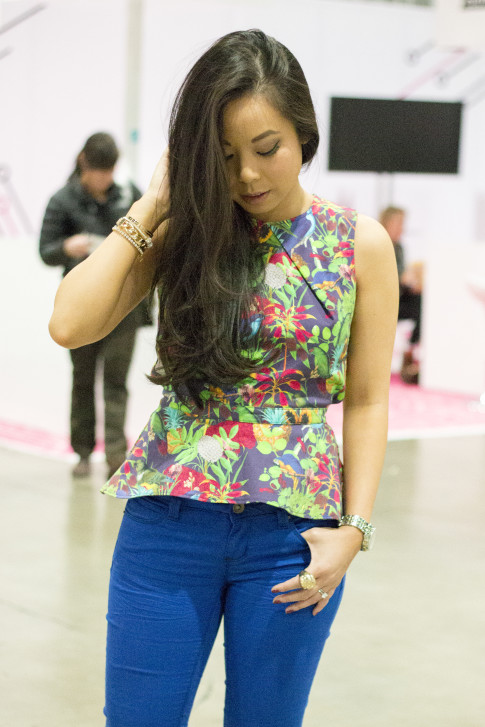 roadtoMAGIC Wearing Maurie & Even Tropical Peplum Top, YMI Jeans Michael Kors Watch, Glint & Gleam Jewelry ShopLately
