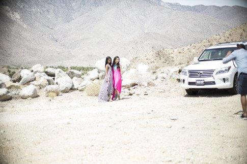 An Dyer & Sheryl Luke posing for BCBGMaxazria at their Benefit Beauty Bungalow Coachella 2013
