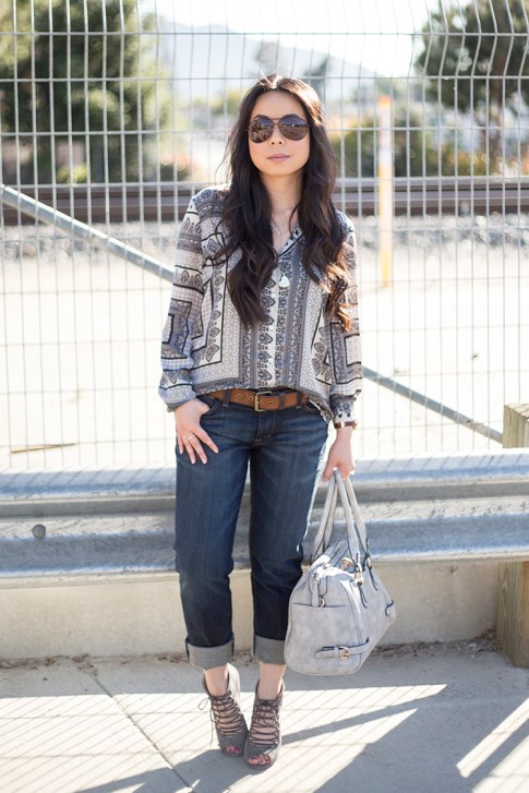 An Dyer wearing Fidelity Denim Girlfriend Jeans in River Blue, ShoeMint Jordane Mushroom, Frederick's of Hollywood Grey Satchel, Vaunt Snake Print Aviators, Zara Scarf Print Blouse, Violet Fly Delicate Thin Go