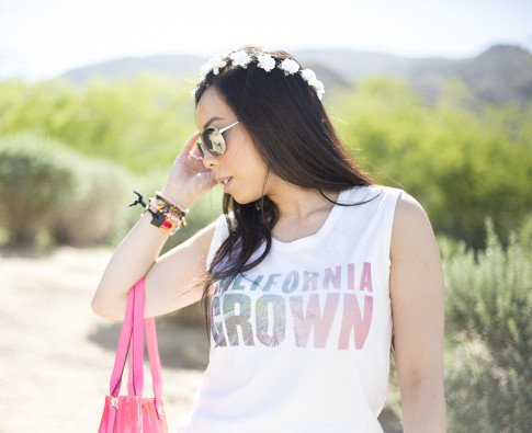 An Dyer wearing Lovers & Friends California Grown Tank, BCBGMaxazria Carly Zipper Tote in Pink, C&C California Flower Halo, Haute Betts Gypsy & Candy Pop Sweet Tarts Bracelets, Kim & Zozi