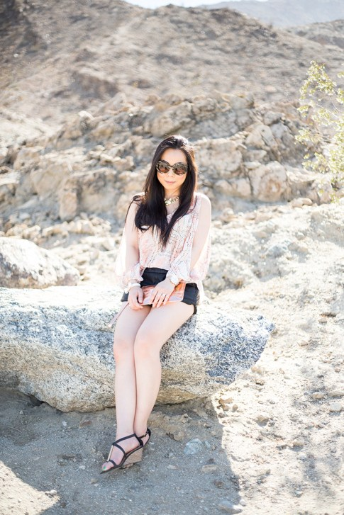 An Dyer wearing ShoeDazzle Lia, Lovers & Friends Daydream Blouse in Abstract Pastel, Lucca Couture Studded Bow Bracelet, George Gina Lucy Rosegold Wristlet, Fox Necklace, Prada Round Baroque Sunglasses