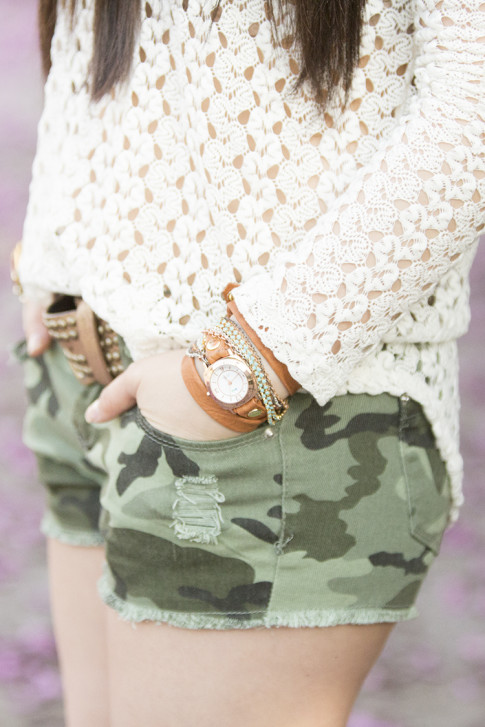 An Dyer wearing Vintage Havana Knit Top, YMI Jeans Camouflage Shorts, La Mere Custome Made Wrap Watch