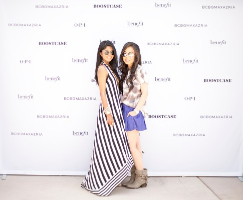BloggerBesties Sheryl Luke & An Dyer at the BCBGMaxazria Benefit Beauty Bungalow Coachella 2013