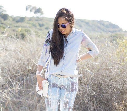 An Dyer wearing BleuLab Drip Tie Dye Ocean, Sole Society Elsie Bag in White, Glint & Gleam iridescent mirrored sunglasses & Belt, Zara Denim Tropical Combined Shirt, Hermes Hapi 3mm Bracelet