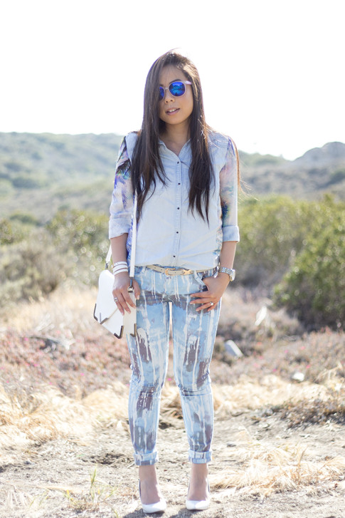 An Dyer wearing BleuLab Drip Tie Dye Ocean, Sole Society Elsie Bag in White, Glint & Gleam iridescent mirrored sunglasses, Zara White Wedge Pump & Denim Tropical Combined Shirt, Hermes Hapi 3mm