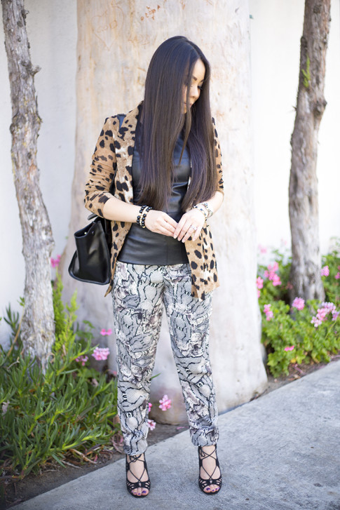 An Dyer wearing Leopard Blazer, ShoeMint Romy, Bailey 44 Leather Tee Shirt, Cuore & Pelle Caterina Trapeze Bag. jpg