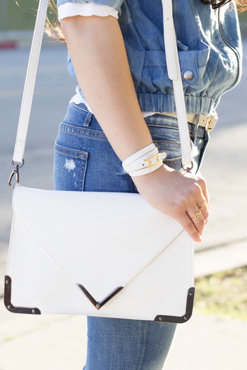 An Dyer wearing StyleMint Manor Jacket, WeTheHatters Custom Name Necklace & Love More Rings, SoleSociety Elsie White Clutch Bag, Rich & Skinny Ankle Peg Jeans, Hermes Hapi 3mm Bracelet White Leather, Glint & Gleam Dove Gre