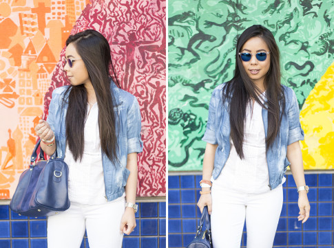 An Dyer wearing True Religion Brooklyn Flap Pocket White Skinny Jeans, Michael Stars  Blouson Hem Peasant Top, StyleMint Manor Tie Dye Denim Jacket, SoleSociety Kaylin Navy Bag, Blue Mirrored Sunglasses