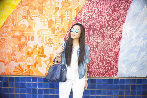 An Dyer wearing True Religion Jeans, Michael Stars  Blouson Hem Peasant Top, StyleMint Manor Tie Dye Denim Jacket, SoleSociety Kaylin Bag, Blue Mirrored Sunglasses in Haight Ashbury