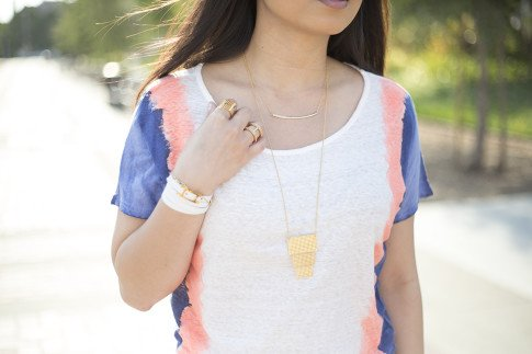 An Dyer wearing Vintage Havana Dip Dye Tee, Hermes Hapi 3mm, Gorjana Griffin Taner Shimmer Necklace, Mia Tiered Necklace, Mia Wrap Ring, Lena Shimmer Double Bar Ring & Chevron Charm Bracelet