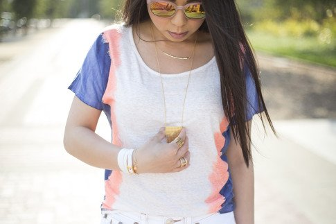 An Dyer wearing Vintage Havana Dip Dye Tee, Pink Mirrored Sunglasses, Hermes Hapi 3mm, Gorjana Griffin Taner Shimmer Necklace, Mia Tiered Necklace, Mia Wrap Ring, Lena Shimmer Double Bar Ring & Chevron Charm B