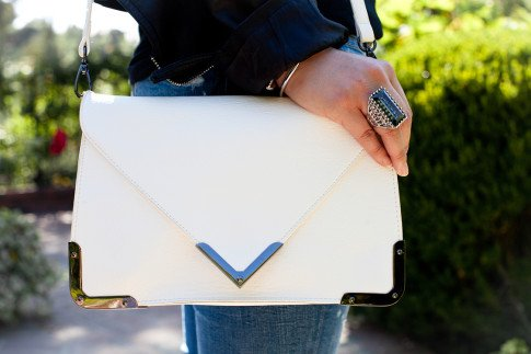 Bailey 44 Brunch - An Dyer wearing Sole Society Elsie Bag in White and JewelMint Web Ring