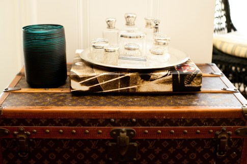 Bailey 44 Brunch Interior Decor Louis Vuitton Trunk and Vintage Silver Crystal Perfume Bottles