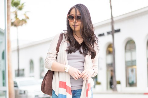 An Dyer wearing DL1961 Jeans, Left on Houston Tribe Cardigan, Celine Paris Audrey Pink & Hermes Hapi 3mm