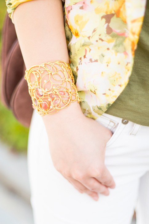 An Dyer wearing Mauritius Golden Lace Cuff Bracelet Peach