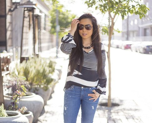 An Dyer wearing Vaunt Black Snake Print Etched Aviator Sunglasses, Rich & Skinny Clinton Peg Jeans, JewelMint Shadow Link Necklace, Vintage Havana Striped Top