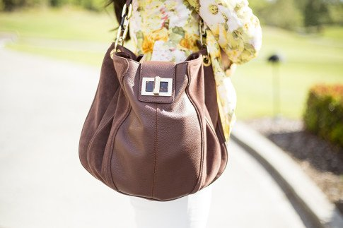 An Dyer wearing Wine and Dine Blazer Lovers+Friends, B Makowsky Brown Leather Bag