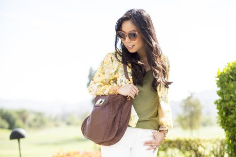 An Dyer wearing Wine and Dine Blazer Lovers+Friends, Rich & Skinny The Skinny Crop in Mental, La Mer Collection Wrap Watch, Celine Paris Audrey Sunglasses, Mauritius Golden Lace Cuff Bracelet Peach