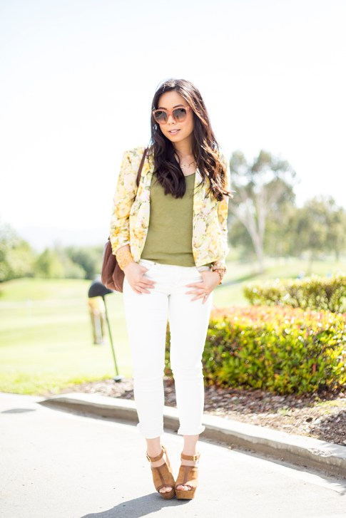 An Dyer wearing Wine and Dine Blazer Lovers+Friends, Rich & Skinny The Skinny Crop in Mental, Sole Society Daniella, Alexis Bittar Cuff, Celine Audrey Sunglasses