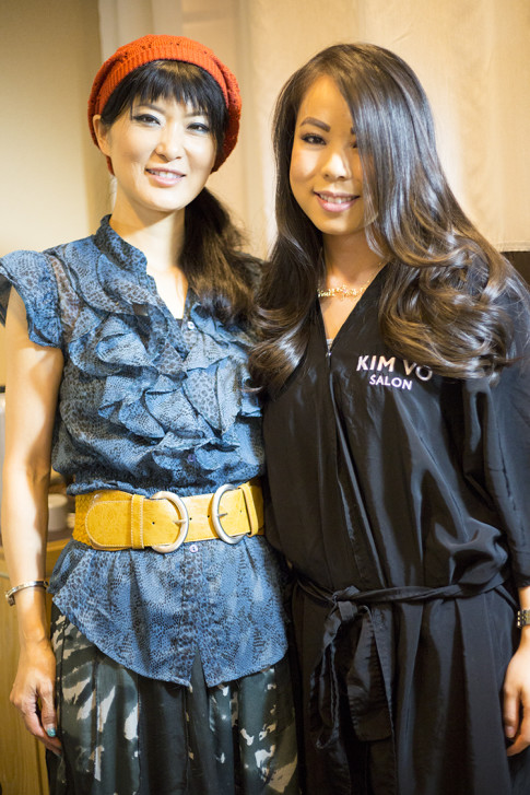 HautePinkPretty An Dyer with Mika Fowler at Kim Vo Salon Montage Hotel Beverly Hills