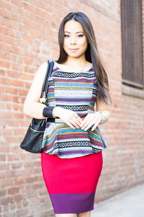 An Dyer Wearing Olivia Joy Swanky Satchel, Vintage Havana Tribal Peplum Tank, JewelMint Cobra Cuff, Metal Plate Belt, Express Colorblock Pencil Bodycon Skirt