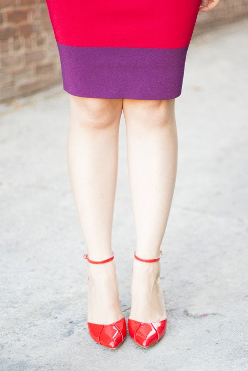 An Dyer Wearing Sole Society Julianne Hough Giselle Pumps in Red Cardinal, Express Colorblock Pencil Bodycon Skirt