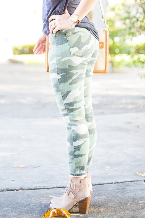 An Dyer wearing CJ by Cookie Johnson Believe Camo Crop Stretch Jeans & ShoeMint Milly Boots