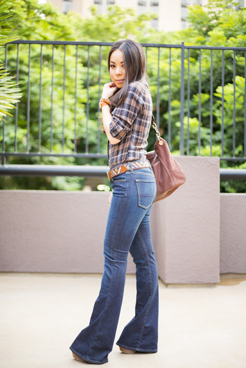 An Dyer wearing Lucky Brand Charlotte Kick Flare & Embroidered Belt, B Makowsky Brown Leather Hobo Bag