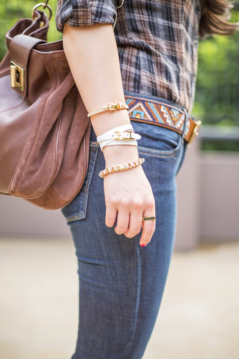 An Dyer wearing Lucky Brand Charlotte Kick Flare & Embroidered Belt, B Makowsky Brown Leather Hobo Bag, Glint & Gleam Luxe Sparkle Chain Bracelet, Buckled Beauty Cuff and So Square Ring