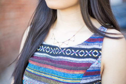 An Dyer wearing Mason Grace Jewelry Triangle Collar Necklace, Vintage Havana Tribal Top