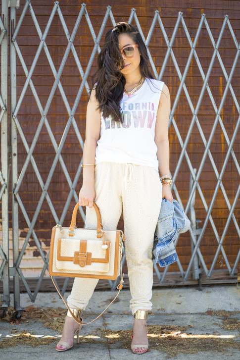An Dyer wearing Piper Gore Clementine Lace Pant, Celine Paris Audrey Pink, Lovers & Friends California Grown Tank, Bebe Jacqueline Sandals, Brahmin Atelier Brookline Satchel