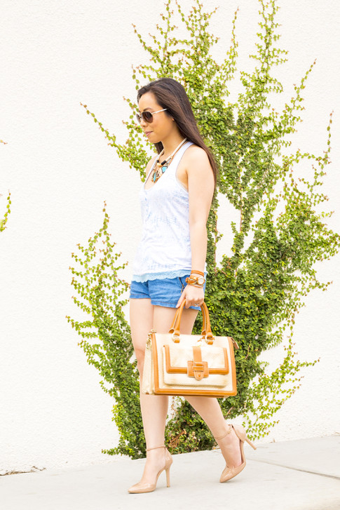 An Dyer wearing Sole Society Giselle Nude Pumps, Brahmin Atelier Brookline Satchel, Zara Chambray Denim Shorts, Foster Grant Aviator Sunglasses, Honeydew Intimates Diamondback Cami
