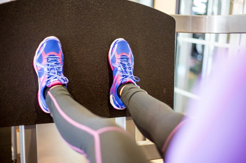 An Dyer Gym Style Fitness Fashion - Ryka Influence Pink & Blue - Seated Leg Press