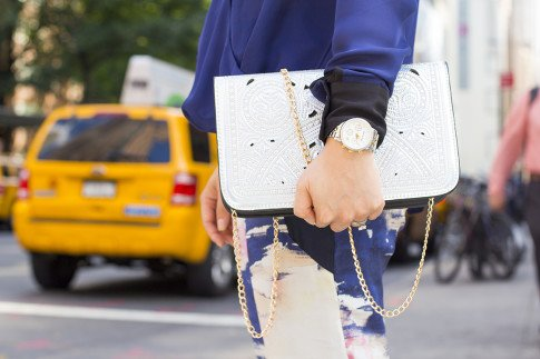 An Dyer wearing Galactic Tribe Clutch Hologram Silver