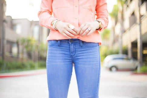 An Dyer wearing Kohls Apt 9 Solid Crepe Blouse & Rock & Republic Kashmiere Skinny Jeans