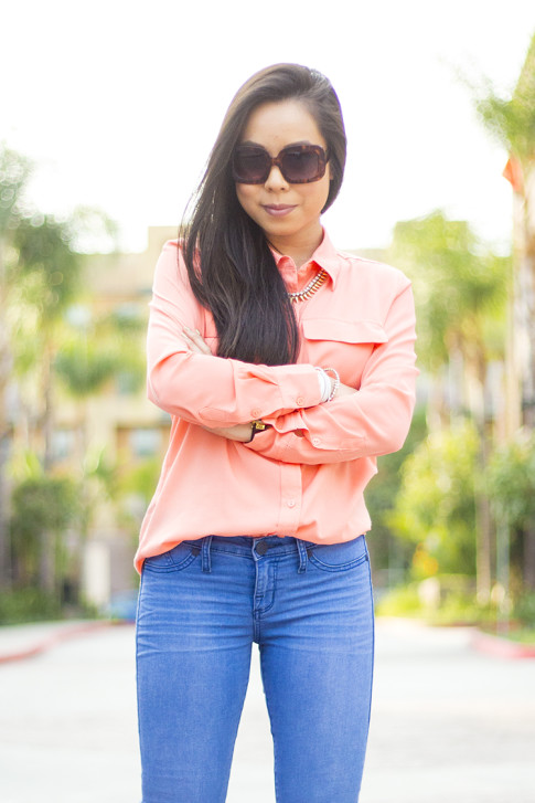 An Dyer wearing Kohls Apt 9 Solid Crepe Blouse & Rock & Republic Kashmiere Skinny Jeans, rectangle tortoise sunglasses