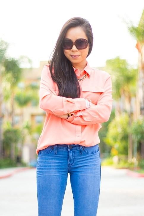 An Dyer wearing Kohls Apt 9 Solid Crepe Blouse & Rock & Republic Kashmiere Skinny Jeans, rectangle tortoise sunglasses