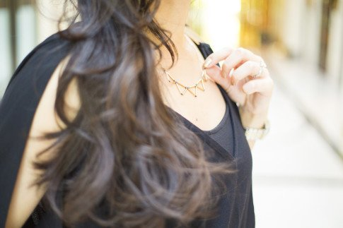 An Dyer wearing Mason Grace Jewelry Triangle Collar Necklace